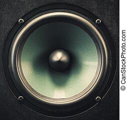 Woofer Speaker Closeup - Metallic material of a woofer...