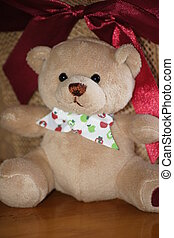 Teddy Bear and Bow - Cute brown teddy bear with bow.