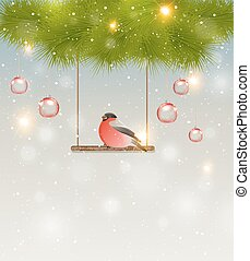 Bullfinch and green pine branch - Christmas background with...
