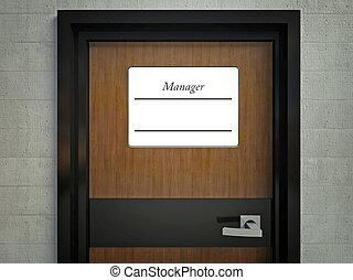 Manager sign with copy space for name on office door