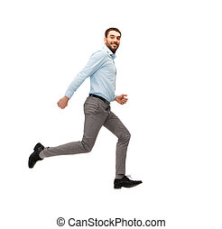 smiling young man running away - business, freedom, movement...