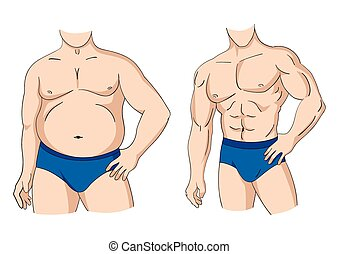 Fat And Fit Man Posture - Illustration of a fat and muscular...