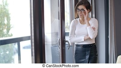 Beautiful Business Woman Standing in Front of Window She...