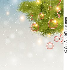 Red Christmas decorations and pine branch - Christmas...