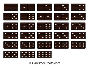 Wooden Dominoes Set - A complete set of black wooden...
