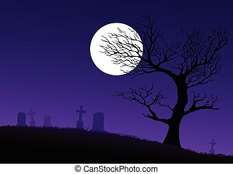 Cemetery - Silhouette of a dried spooky tree on cemetery...