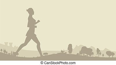 Jogger With Wooded Background - Silhouette of a jogge on a...