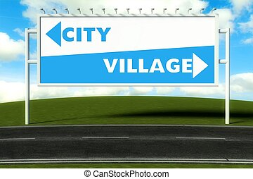 Conceptual direction signs lead to city or village