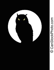 Owl At Full Moon - Silhouette of an owl against full moon