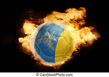 football ball with the flag of canary islands on fire -...