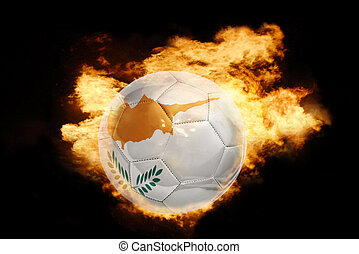 football ball with the flag of cyprus on fire - football...
