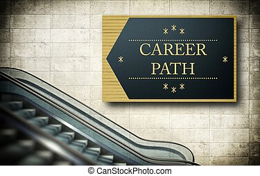 Moving escalator stairs with career path concept
