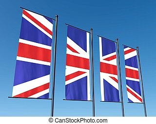 Conceptual British flag split into several flags on sky