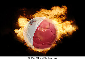 football ball with the flag of malta on fire - football ball...
