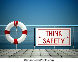 piscina, sinal,  lifebuoy, segurança, pensar, natação