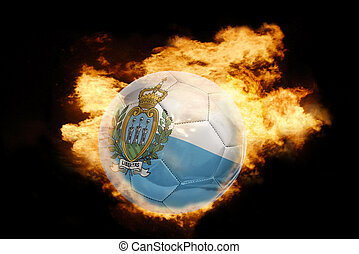 football ball with the flag of san marino on fire - football...