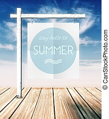 Say hello to summer concept poster on clouds background