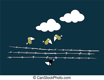 Birds over the wire - Three birds looking at an another bird...