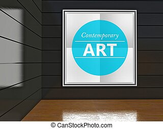 Contemporary art poster in gallery