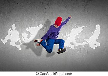 quadril, dançarino, pulo