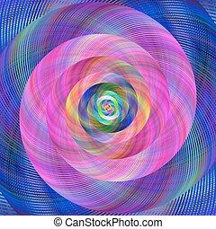 Pink blue colorful spiral design
