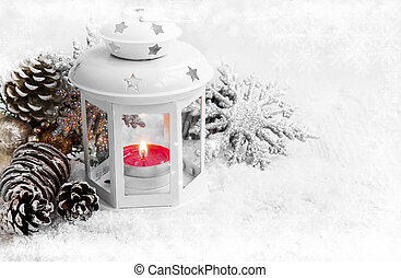 White Christmas Lantern with Ornaments on Snow and Ice...