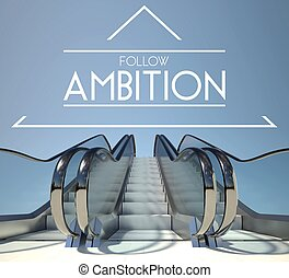 Follow ambition concept with stairs to success