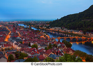Beautiful night view of Alte Brucke in Heidelberg -...