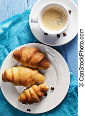 Croissants and espresso above view - Croissants and espresso...