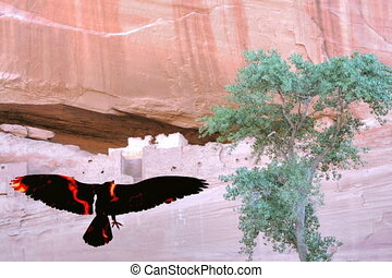 Fire bird Four - Flying bird flying in canyon de Chelly at...