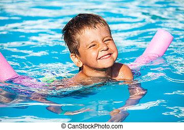 Nade, niño, primer plano, Fideo, aprendizaje, piscina