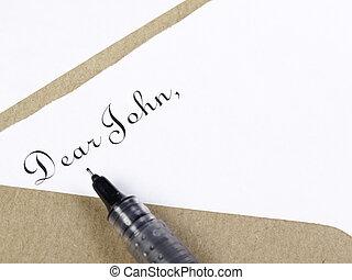 Dear John Letter - Salutation in black ink to begin a...