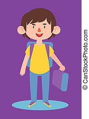 Cute Boy Ready to go Back to School - Vector illustration of...