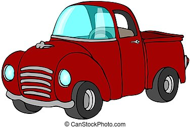 Red Pickup Truck - This illustration depicts a red pickup...