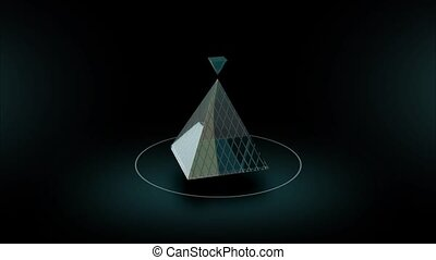 Rotate of abstract glass pyramid on dark background 3d...
