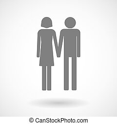 Illustration of a heterosexual couple pictogram - Isolated...
