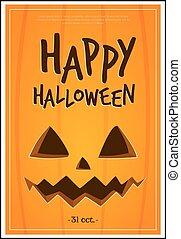 Happy Halloween with pumpkin poster.