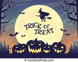 Trick or treat Halloween poster in dark tones with pumpkin