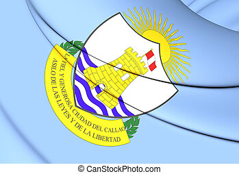 Flag of El Callao, Peru. - 3D Flag of El Callao, Peru. Close...