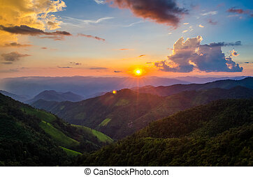 Sunrise Over Mountain with Forest