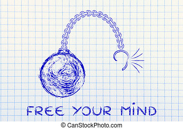 broken chain with ball and text Free your mind - ball and...