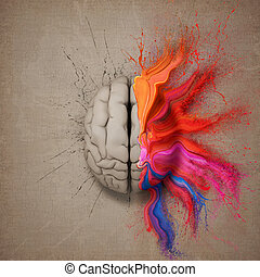 The Creative Brain - Creative mind or brain illustrated with...