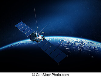 Communications satellite orbiting earth - Communications...