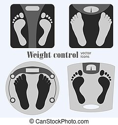 Bathroom scales and footprint icons Diet, weight control -...