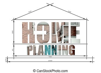Home planning illustration in house blueprint