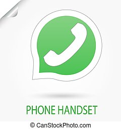 Phone Handset vector icon - Speech bubble with Phone...
