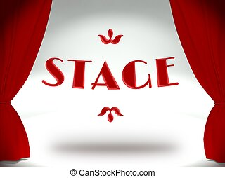 3d Theater stage, red curtains