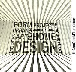 Words on wall in modern interior, architecture design