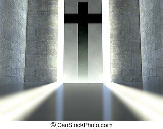 Christian cross on wall, concept of faith - Christian cross...