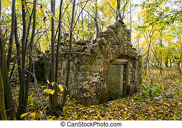 the ruins of an old building